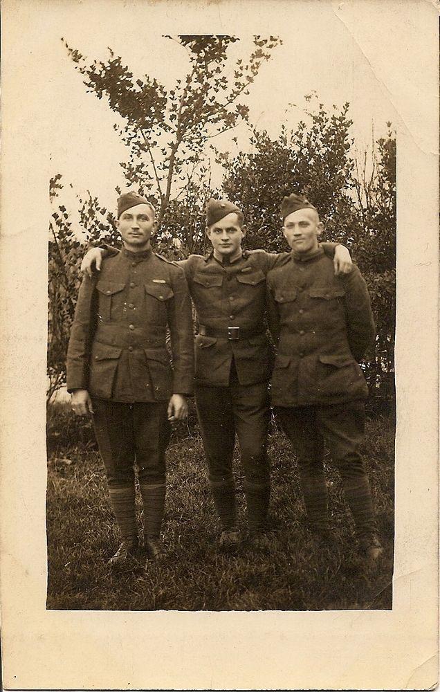 RPPC, WW1 PHOTO OF THREE US MARINES, FRENCH OVERSEAS PHOTO