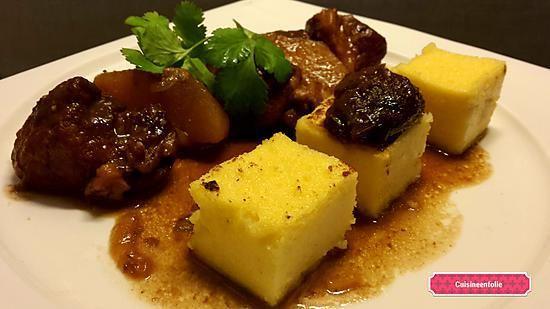 recette Sauté de porc pommes, pruneaux cuit au jus de pruneaux
