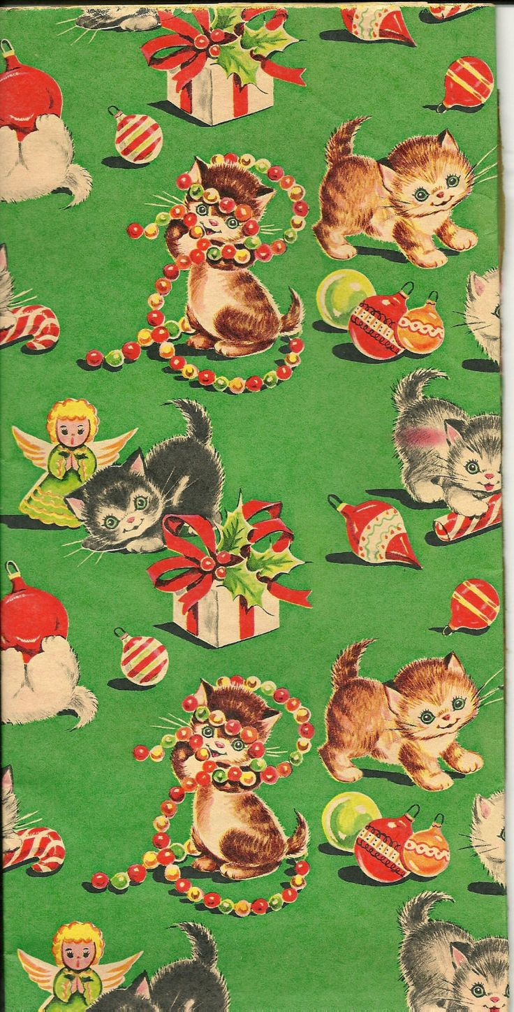 Vintage Kittens Christmas Wrapping Paper * 1500 free paper dolls Christmas gifts artist Arielle Gabriels The International Paper Doll Society also free paper dolls The China Adventures of Arielle Gabriel *