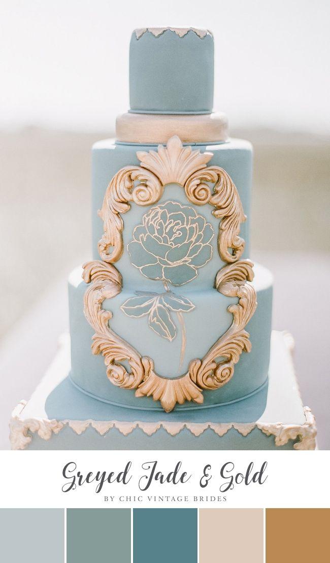 Greyed Jade & Gold Summer Wedding Colour Palette