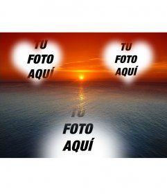 Postal para hacer online de una puesta de sol de cielo naranja sobre un mar azul, con dos marcos en forma de corazón, donde poner las fotos de dos enamorados.