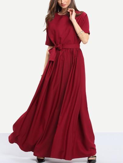 DESCRIPTION Fabric :Fabric has no stretch Season :Fall Pattern Type :Plain Sleeve Length :Three Quarter Length Sleeve Color :Burgundy Dresses Length :Maxi Style