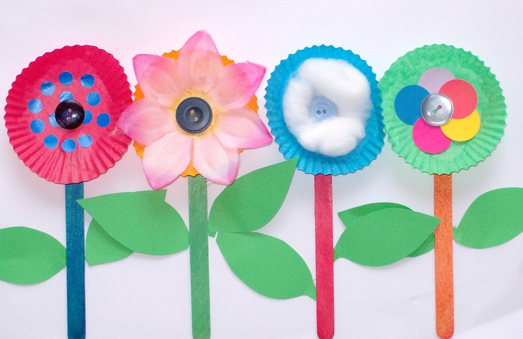 cake case flowers~ senses, smell. Add a drop of essential oil for scent