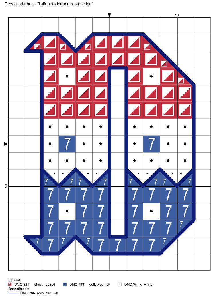 alfabeto bianco rosso e blu D