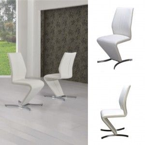 Isabella Z Chair White Faux Leather