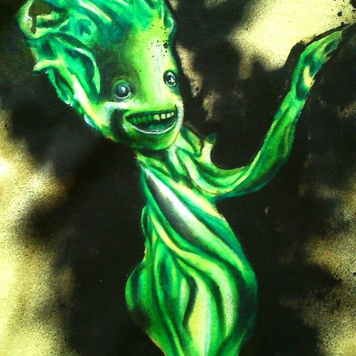 Little Groot in green version :) I tried to do something different than original, so decided to use intensive shadows of green (&black). How do you find it? #littlegroot #guardiansofthegalaxy #geek #fantasy