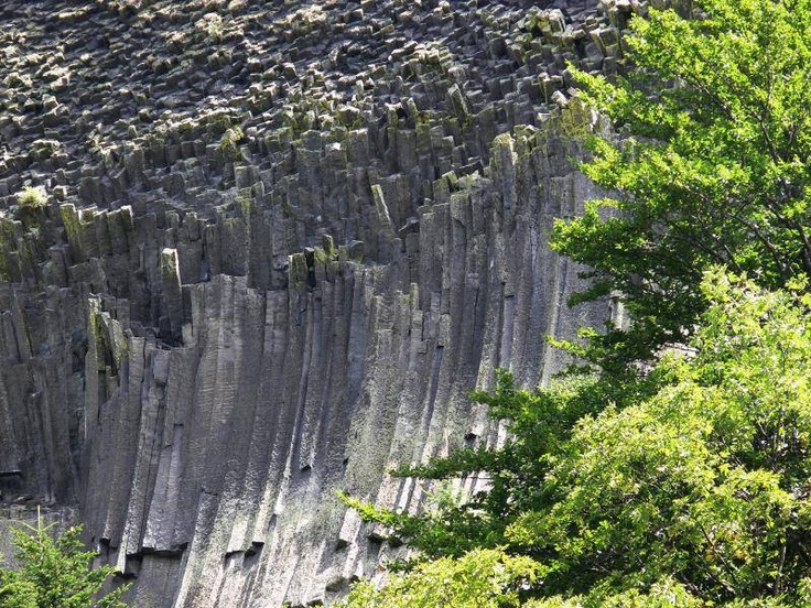 Detunatele Reserve Ore Mountains in Romania - Unique peaks of hexagonal columns of basalt rock.