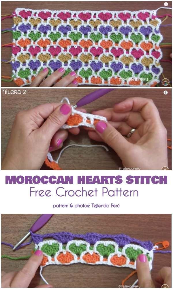 Reversible marokkanische Herz Stich kostenlose Häkelanleitung   – Yarn crafts