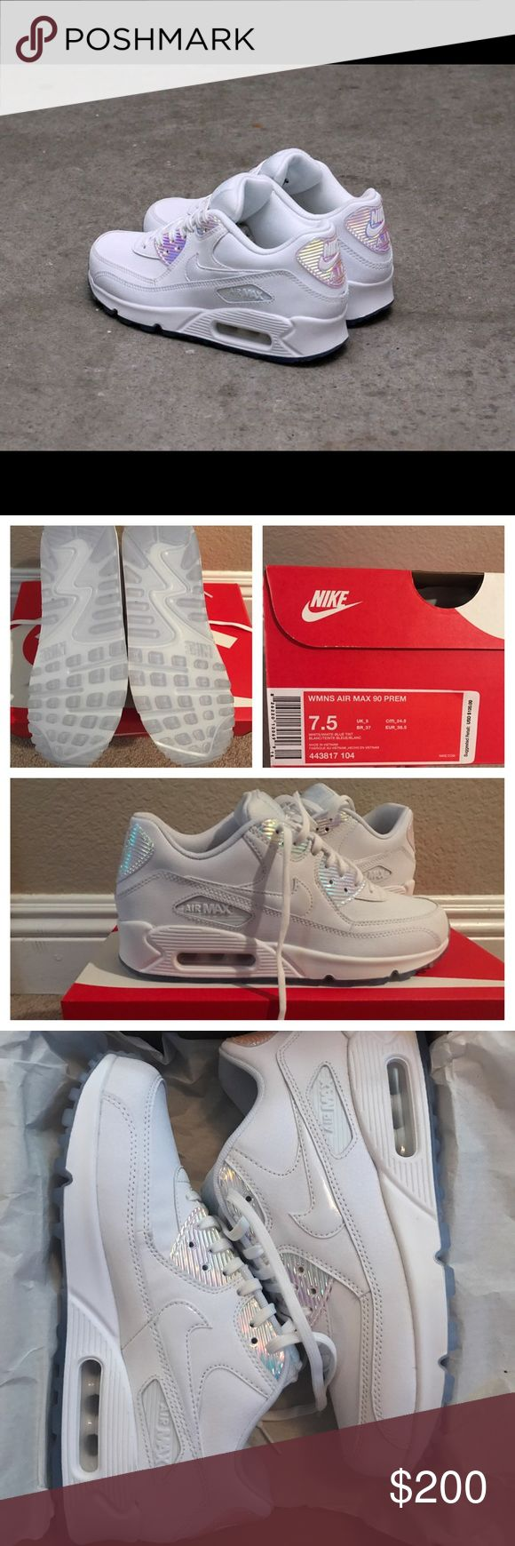 DS RARE Nike Air Max 90 Premium White Halographic DEADSTOCK. Never been worn before. Womens Nike air max 90s in white and holographic / iridescent details. Comes with original box. If you need additional pictures please let me know I tried to fit as much as I could. These are size 7.5 in women's. Nike Shoes Sneakers