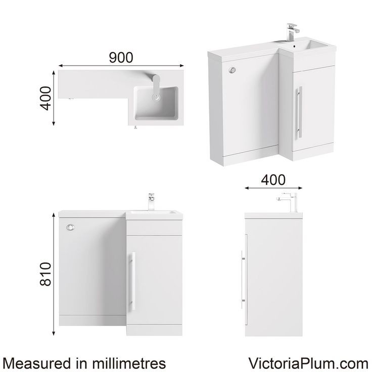 Dimensions for MySpace white right handed unit including concealed cistern