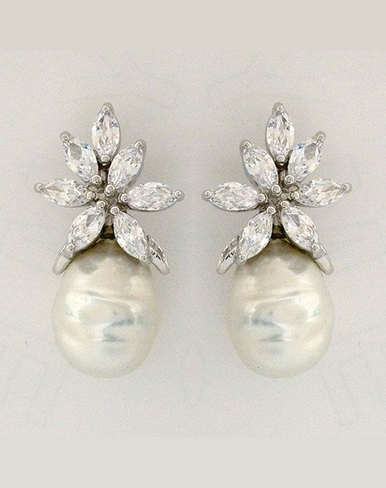 Baroque pearl with CZ design earrings~perfect bridal details...