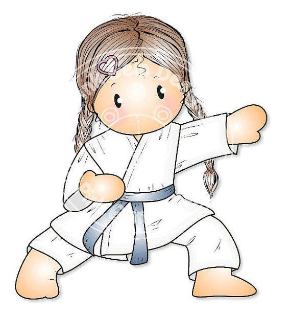 Sello digital Digi Chloe de Karate niñas por PinkGemDesigns
