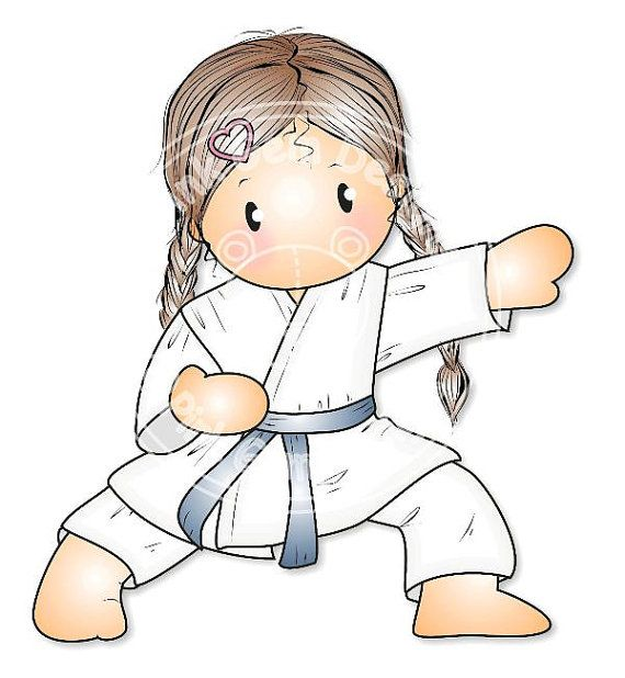 Sello digital Digi Chloe de Karate niñas por PinkGemDesigns