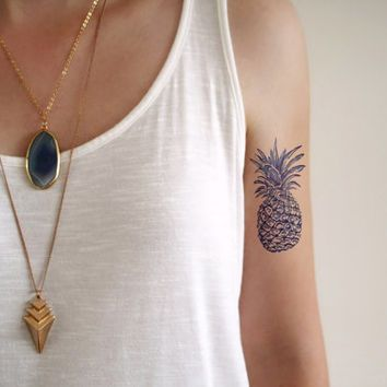 pineapple tattoo outline - Google Search