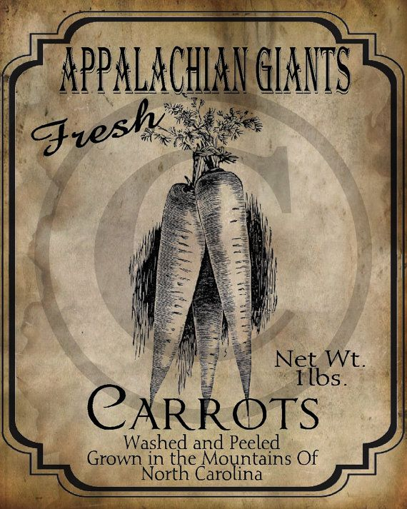 Primitive Appalachian Giants Carrots Seed Packet by Starrmtnprims