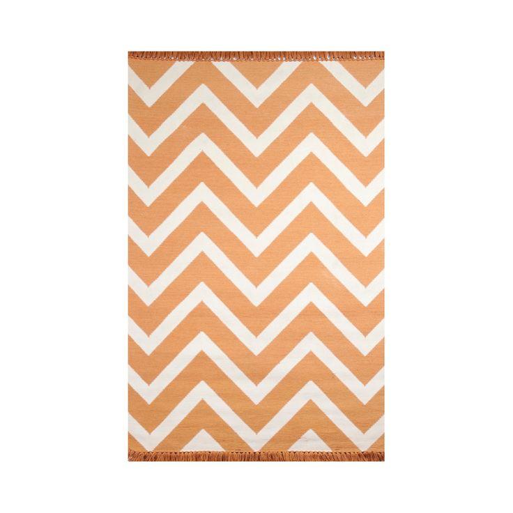 Tuft & Loom Indoor/Outdoor Chevron Area Rug - Marigold/Cream (8'x10'), Orange Smoothie