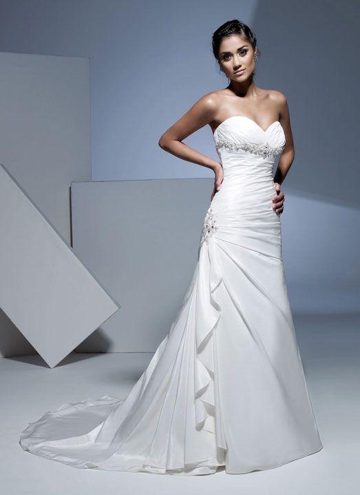Amazing A-line dropped waist taffeta wedding dress