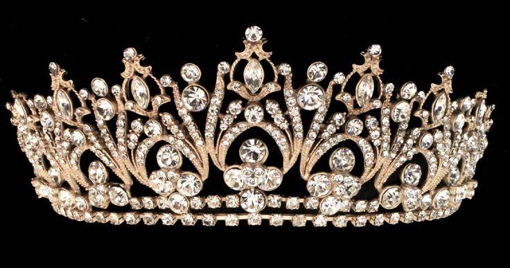 Regal Gold Rhinestone Bridal and Quinceanera Tiara - Affordable Elegance Bridal -