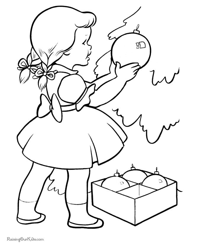 decorating the christmas tree coloring pages
