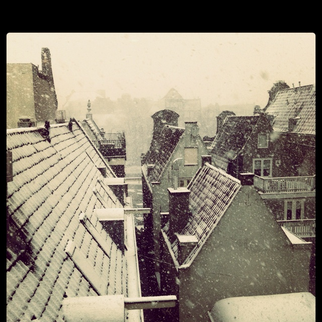 First snow in Amsterdam (with the Amstel river in the back)