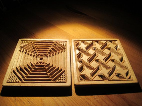 Two wooden mug coasters  chip carving wood carving wood by halfron