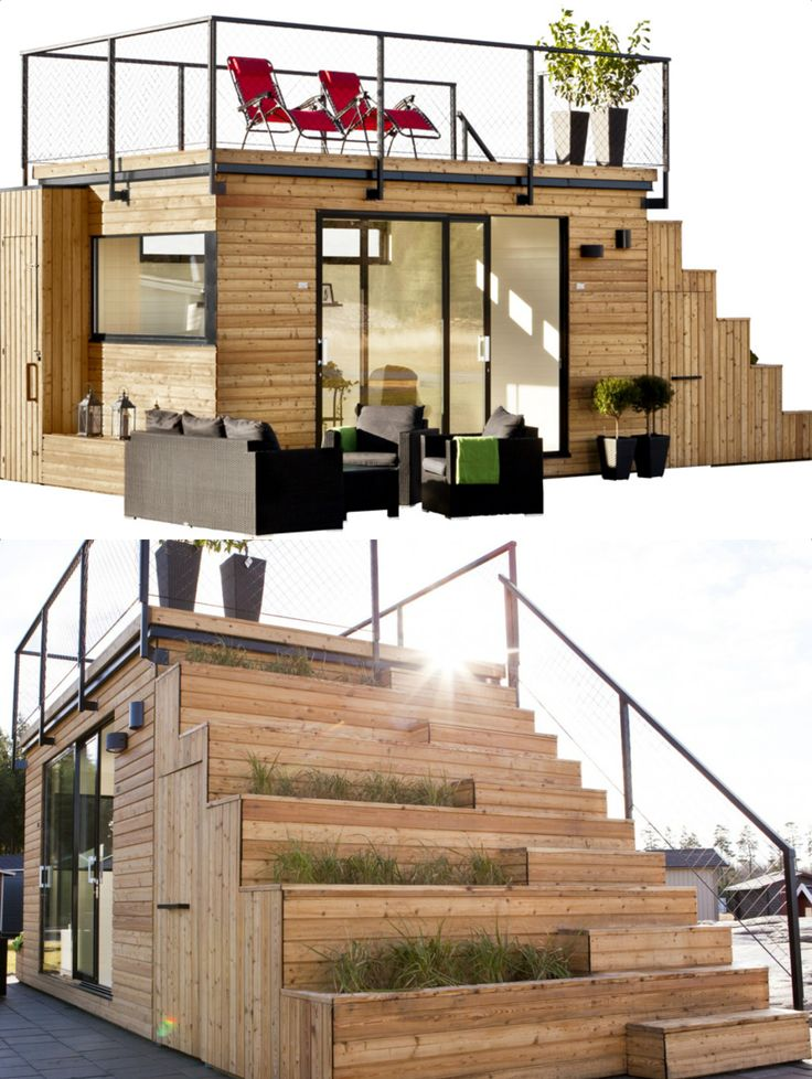 Swedish cabin with roof top garden and retractable outdoor kitchen