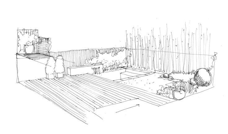 Croquis de dise o de jard n con piscina dibujos croquis for Planos de jardines