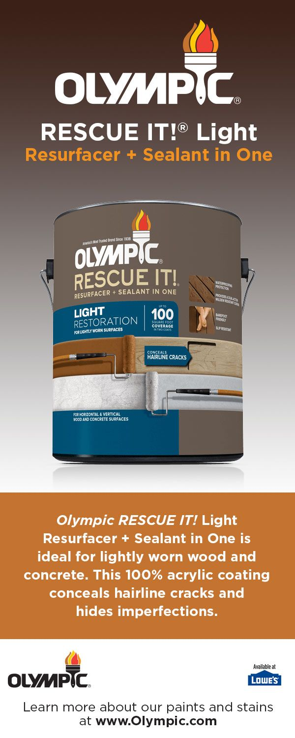 Olympic® RESCUE IT!® Light Resurfacer + Sealant in One is designed for lightly worn wood and concrete. With proper preparation, this 100% acrylic coating conceals hairline cracks, hides imperfections and helps prevent splinters.