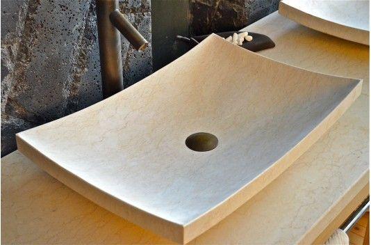 Vasque en pierre à poser ESNA 60X40cm Design en marbre Égyptien - living'ROC