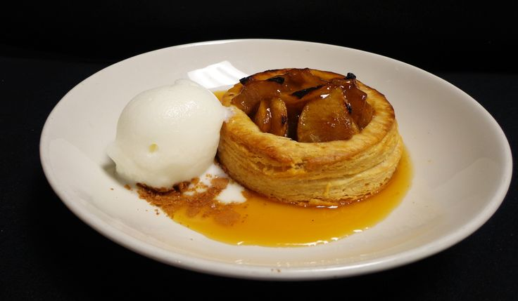 Apple Tart with flaky butter crust, sautéed apples, apple cider caramel sauce, buttermilk sherbet now on our new dessert menu!