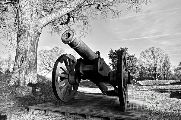 Siege Cannon at Yorktown Battlefield by Rachel Morrison - A Siege Cannon (24-pounder) at Yorktown Battlefield at Yorktown, Virginia. #virginia #yorktown #cannon #military #history #americanhistory #photography #blackandwhite #print #decor #interior
