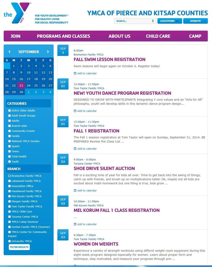 YMCA Events - Like the event filtering options.