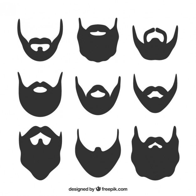 Beard silhouette set Free Vector