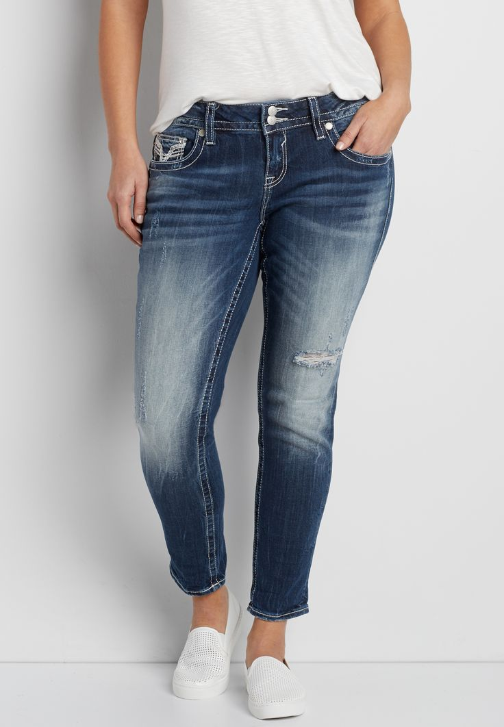 Vigoss® plus size dark wash skinny jeans with destruction (original price, $84.00) available at #Maurices