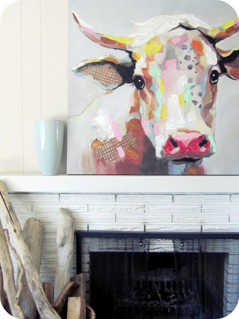 Living Room Refresh (a DIY Kilim / Aztec Rug and an abstract Cow Painting)