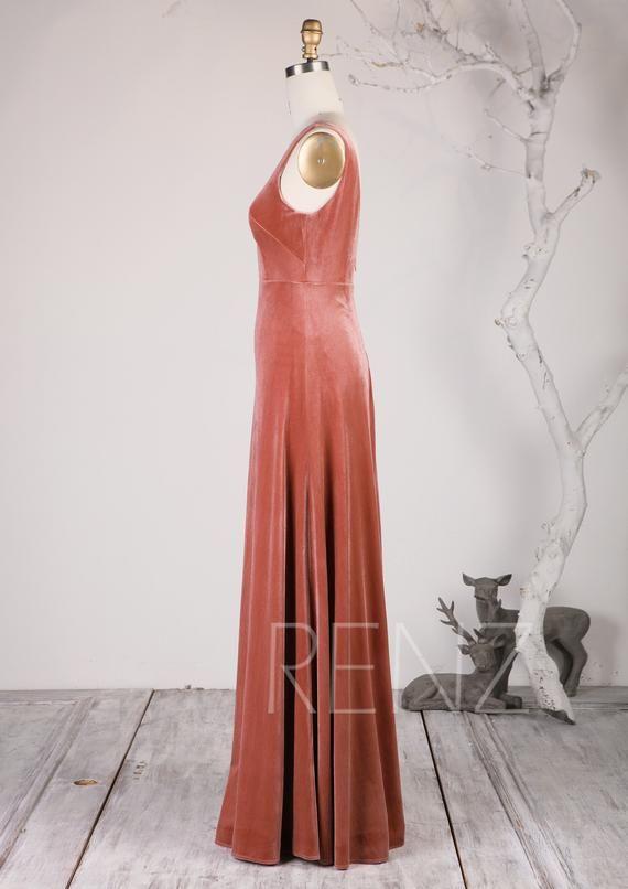 906f769b511 English Rose Velvet Bridesmaid Dress Illusion Boat Neck Wedding ...