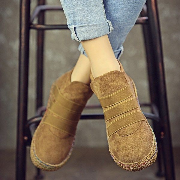 US Size 5-11 Slip On Round Toe Suede Ankle Short Boots For Women is another piece of comfort to your feet this winter. Treat your feet with these shoes. #womenshoes #womenboots #womenankleshortboots