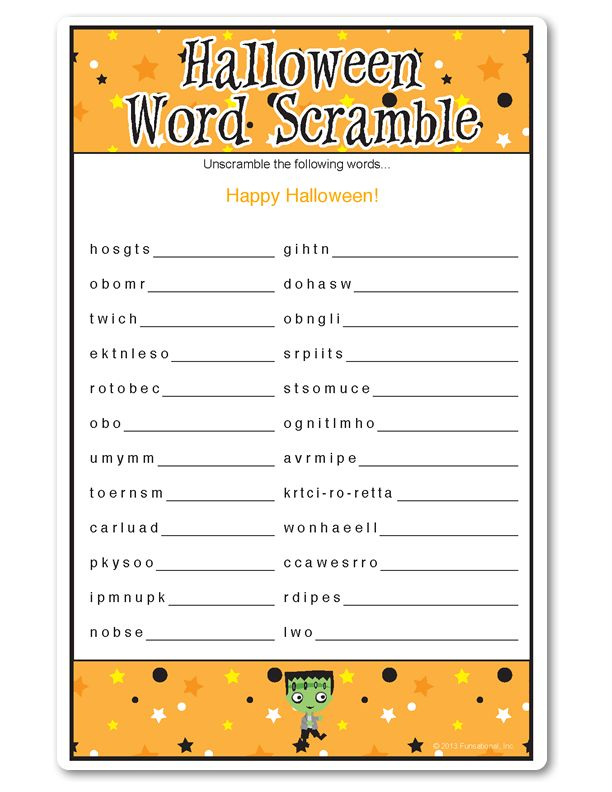 halloween party word games