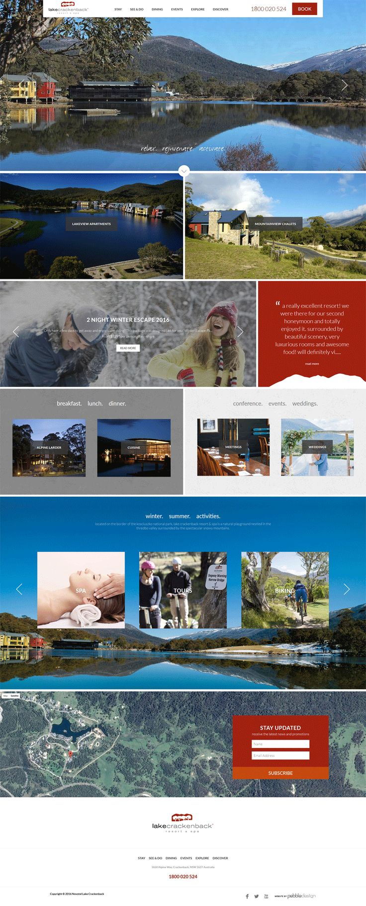 Located on the border of the Kosciuszko National Park, Lake Crackenback Resort & Spa is a natural playground nestled in the Thredbo Valley surrounded by the spectacular Snowy Mountains. To match the great snowfall Australia has had this season, we have revamped the their website with a cool new home page! http://www.lakecrackenback.com.au/  #‎pebbledesign‬ ‪#‎hotelwebdesign‬ ‪#‎hotelwebsites‬ ‪#‎webdesign‬ ‪#‎websitedesign‬
