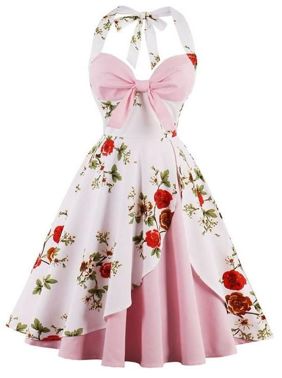 1950\'s Vintage Pink Halter Cocktail Swing Dress | BEADED CREATIONS ...