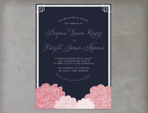 Vintage Navy Pink and Gray Grey Printable Wedding by cartamodello, $26.00
