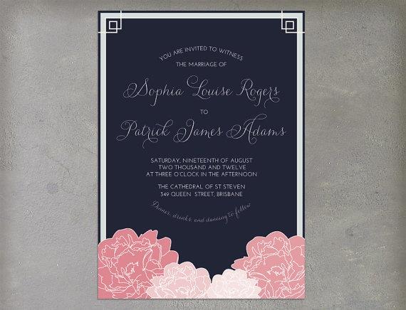 Vintage Navy Pink and Gray Grey Printable Wedding by cartamodello, $26.00