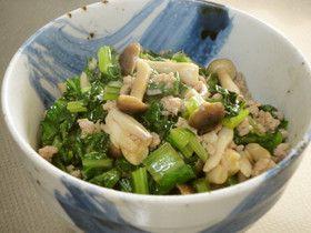 小松菜と豚ミンチの中華風☆丼