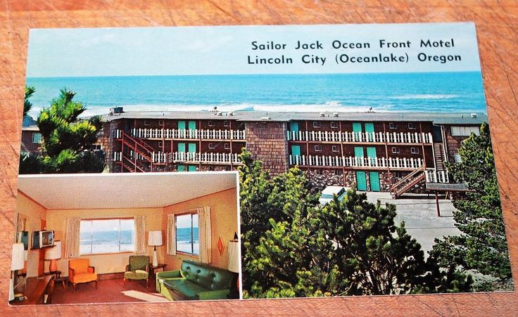 60s PC Sailor Jack Ocean Front Motel Lincoln City OR (Oceanlake) Two Views