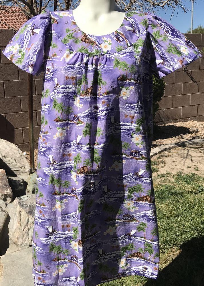 VTG TY Hawaiian Muumuu Cotton Purple Palm Ocean Waves Hibiscus Hula Sz L (Small) #Hawaiian #BeachDressMuumuu #Casual