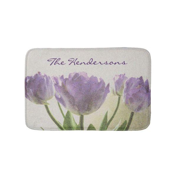 Floral Non Slip Bath Mat With Purple Tulip Flowers Zazzle Com