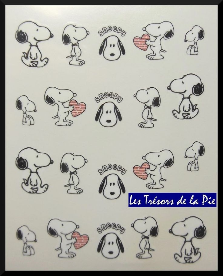 STICKERS ONGLES WATER DECAL (x20) - Nail art - Snoopy & coeur - Noir & rouge