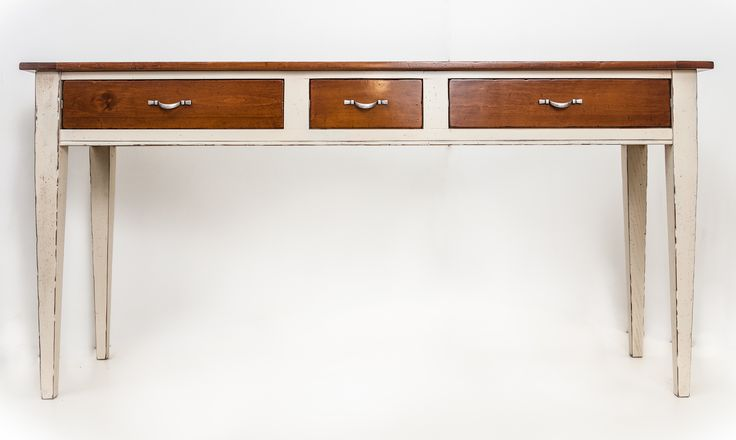 consolle bicolor white and cherry three drawers