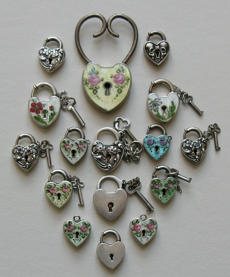A gorgeous selection of heart locks by Walter Lampl. Courtesy of Red Robin Antiques (Ruby Lane).