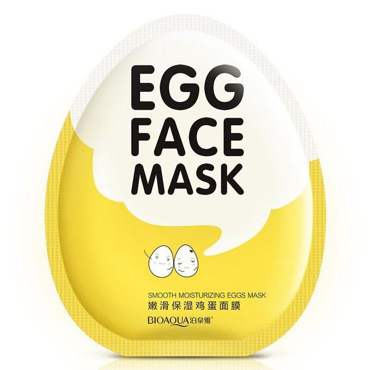 BIOAQUA Egg Facial Mask Smooth Moisturizing Face Mask Oil Control Shrink Pores Whitening Brighten Mask Skin Care